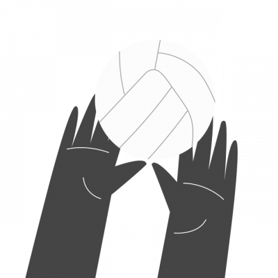 Illustration mains et ballon de volleyball