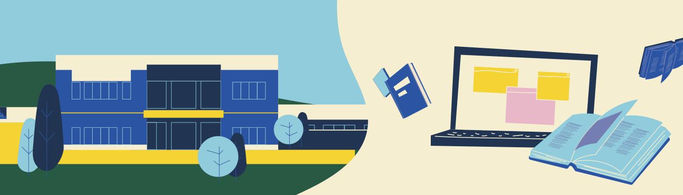 Illustration campus et en ligne combiné